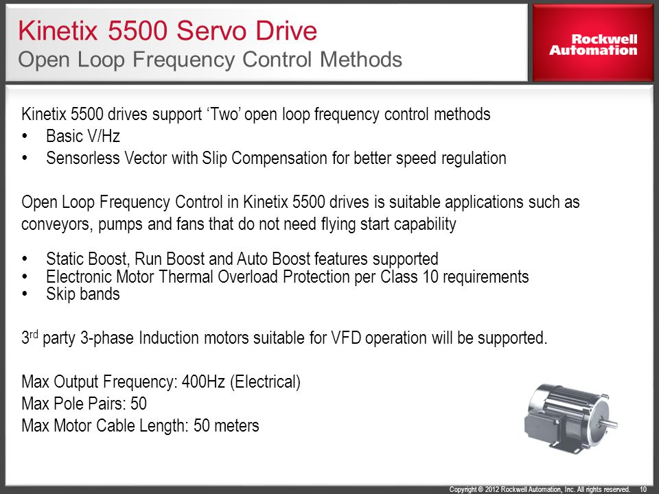 Kinetix 5500 Servo Drive Open Loop Frequency Control Methods