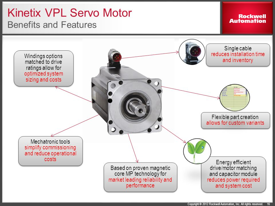 Kinetix VPL Servo Motor Benefits and Features