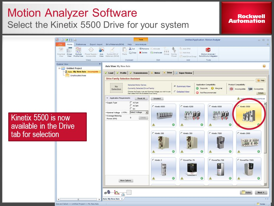 Motion Analyzer Software Select the Kinetix 5500 Drive for your system