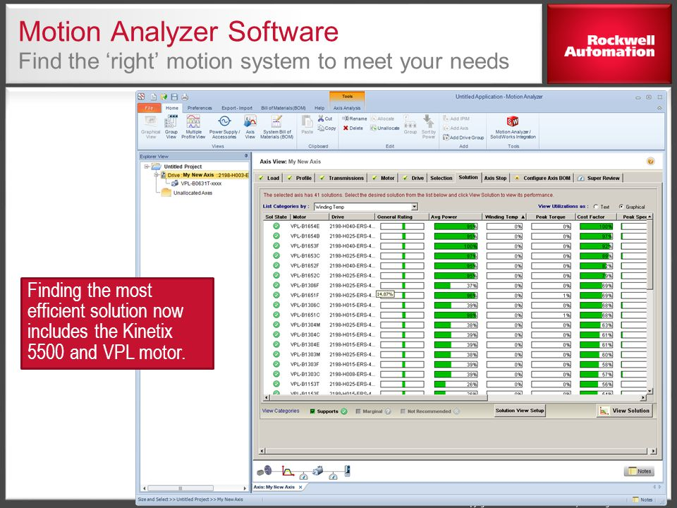 Motion Analyzer Software Find the 'right' motion system to meet your needs