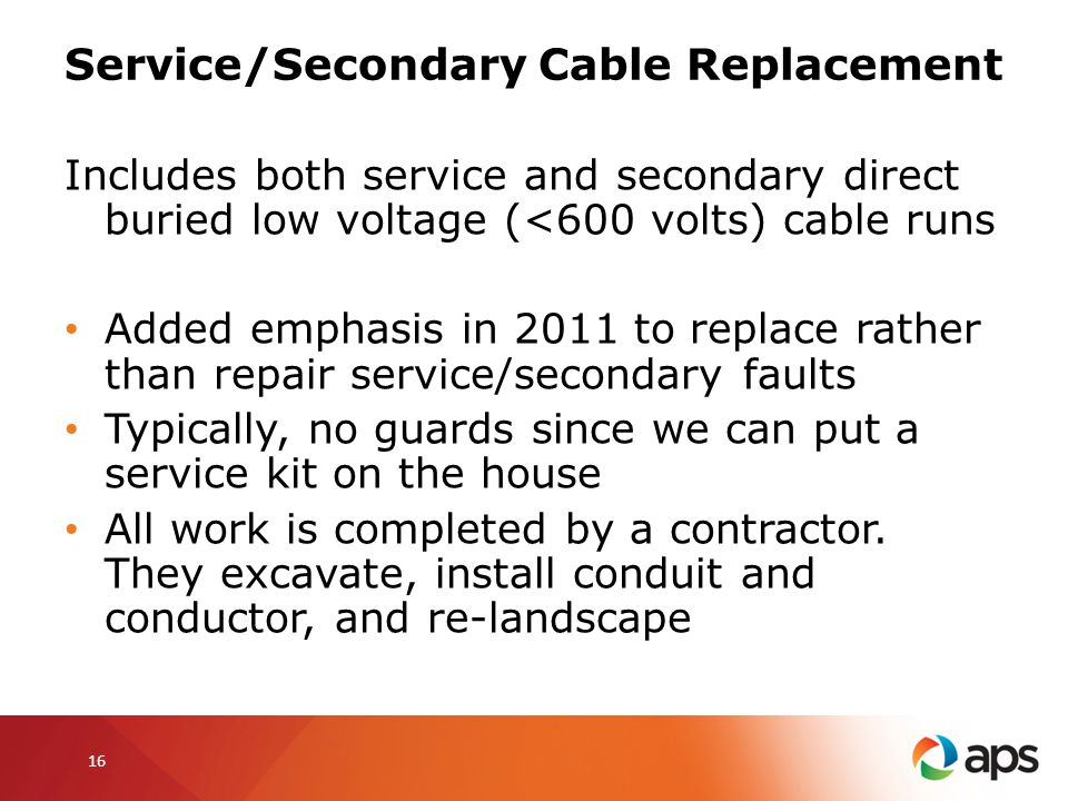 Service/Secondary Cable Replacement