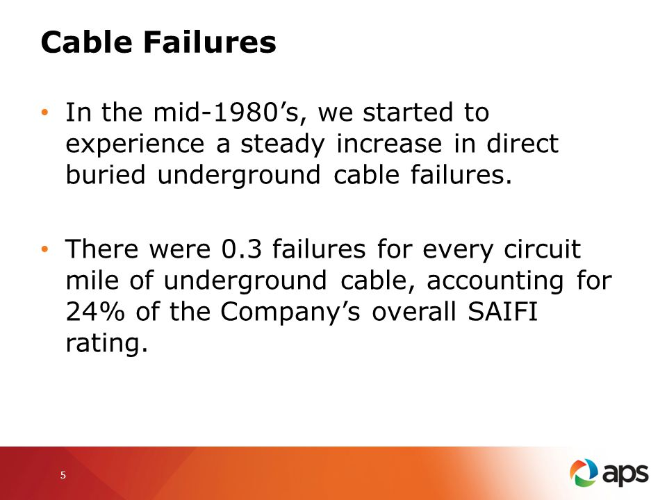Cable Failures In the mid-1980's, we started to experience a steady increase in direct buried underground cable failures.