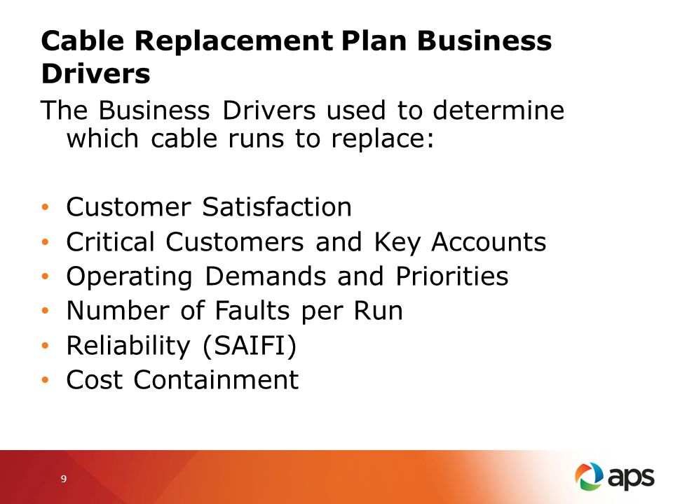 Cable Replacement Plan Business Drivers