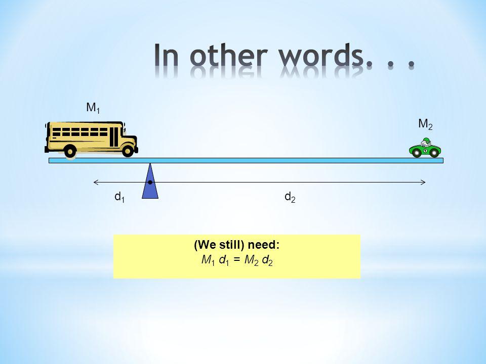 In other words. . . M1 M2 d1 d2 (We still) need: M1 d1 = M2 d2