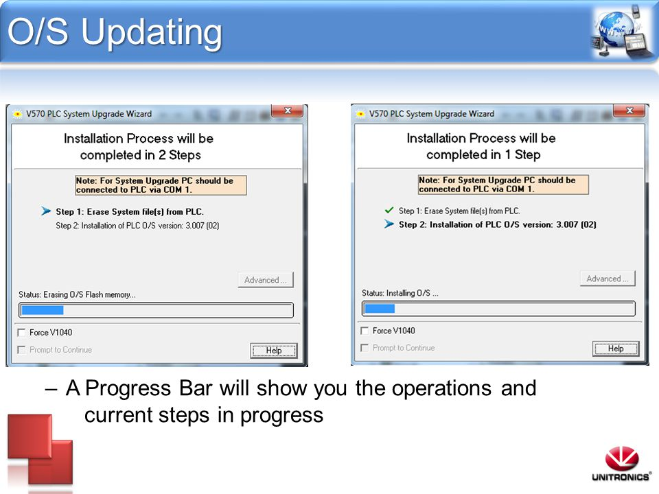 O/S Updating A Progress Bar will show you the operations and current steps in progress