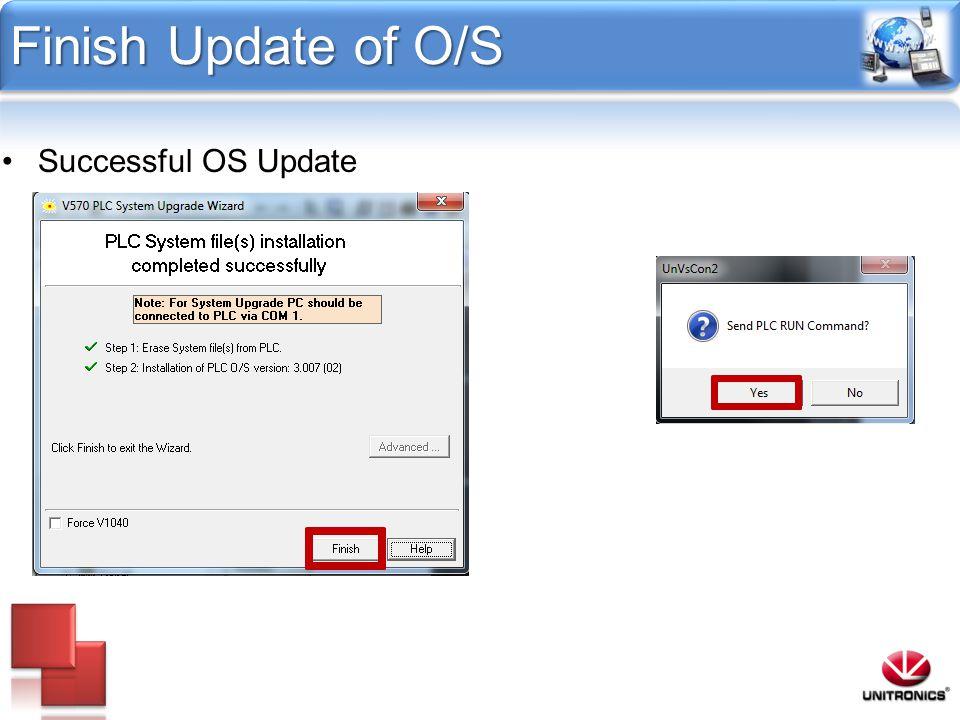 Finish Update of O/S Successful OS Update