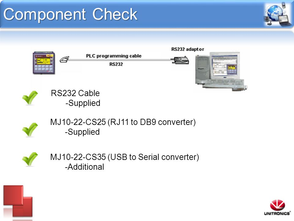 Component Check RS232 Cable -Supplied