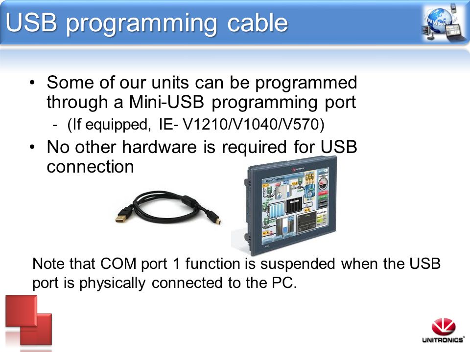 USB programming cable Some of our units can be programmed through a Mini-USB programming port. (If equipped, IE- V1210/V1040/V570)
