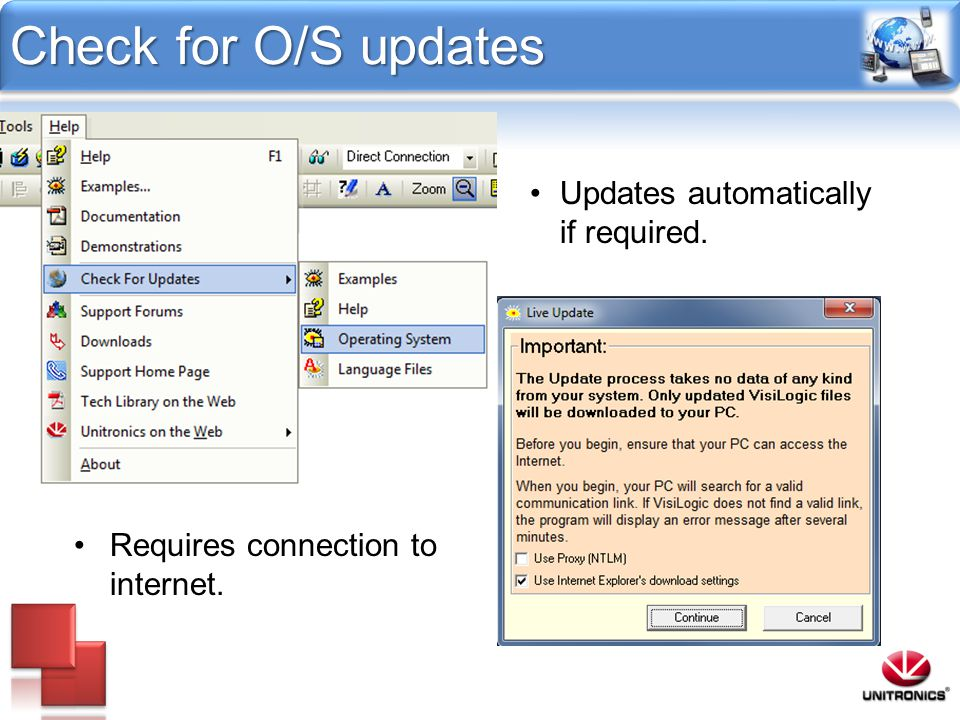 Check for O/S updates Updates automatically if required.