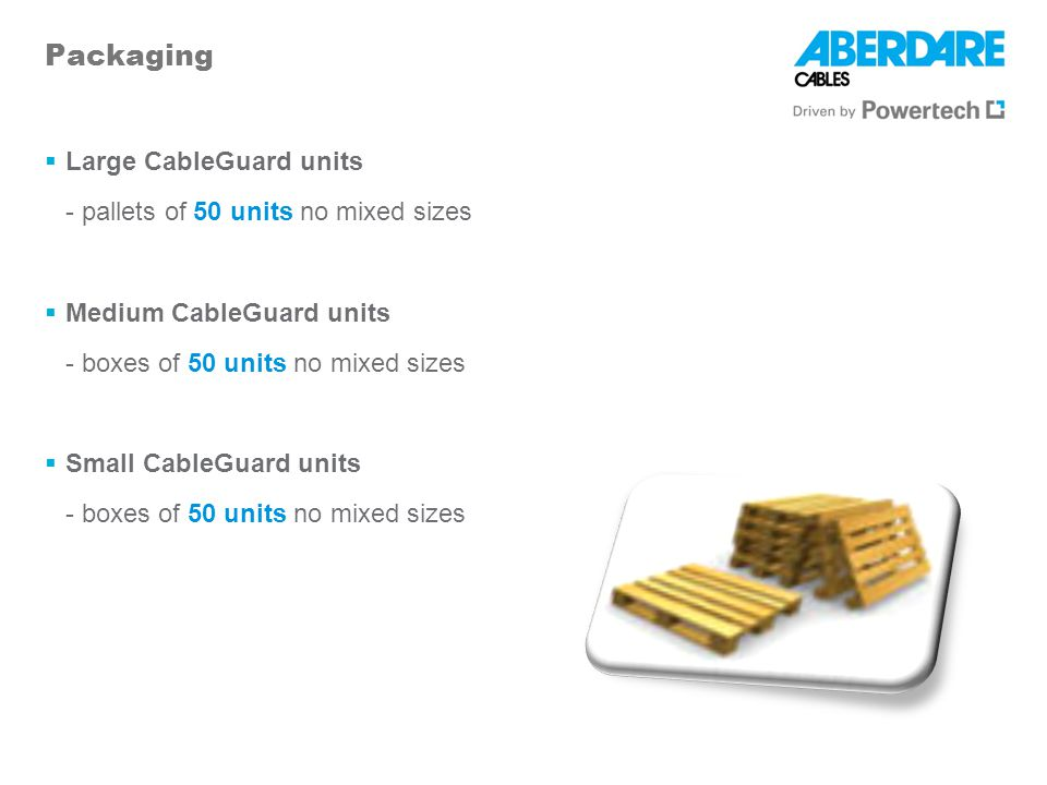 Packaging Large CableGuard units - pallets of 50 units no mixed sizes