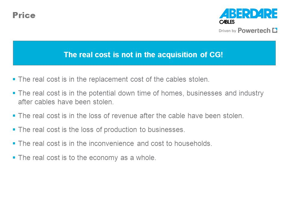 The real cost is not in the acquisition of CG!