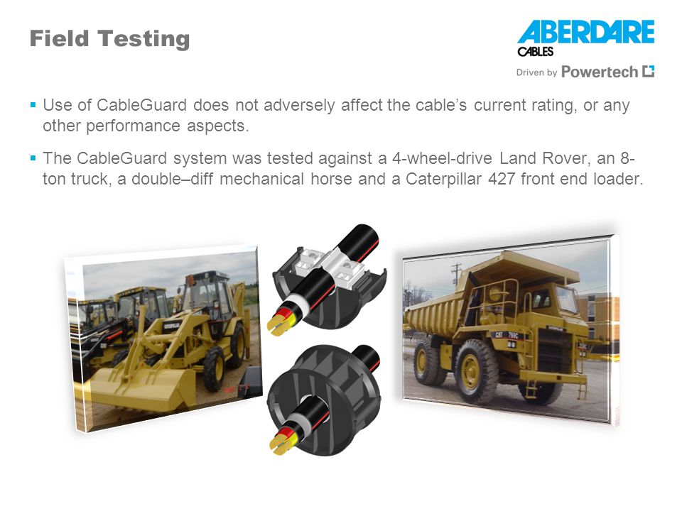Field Testing Use of CableGuard does not adversely affect the cable's current rating, or any other performance aspects.