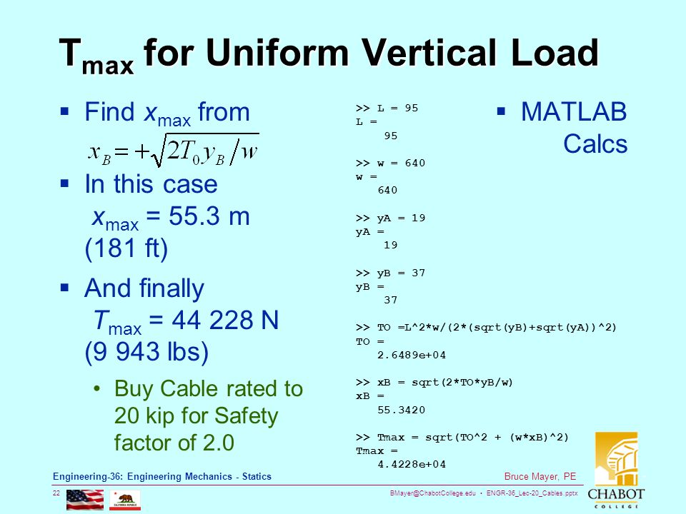 Tmax for Uniform Vertical Load