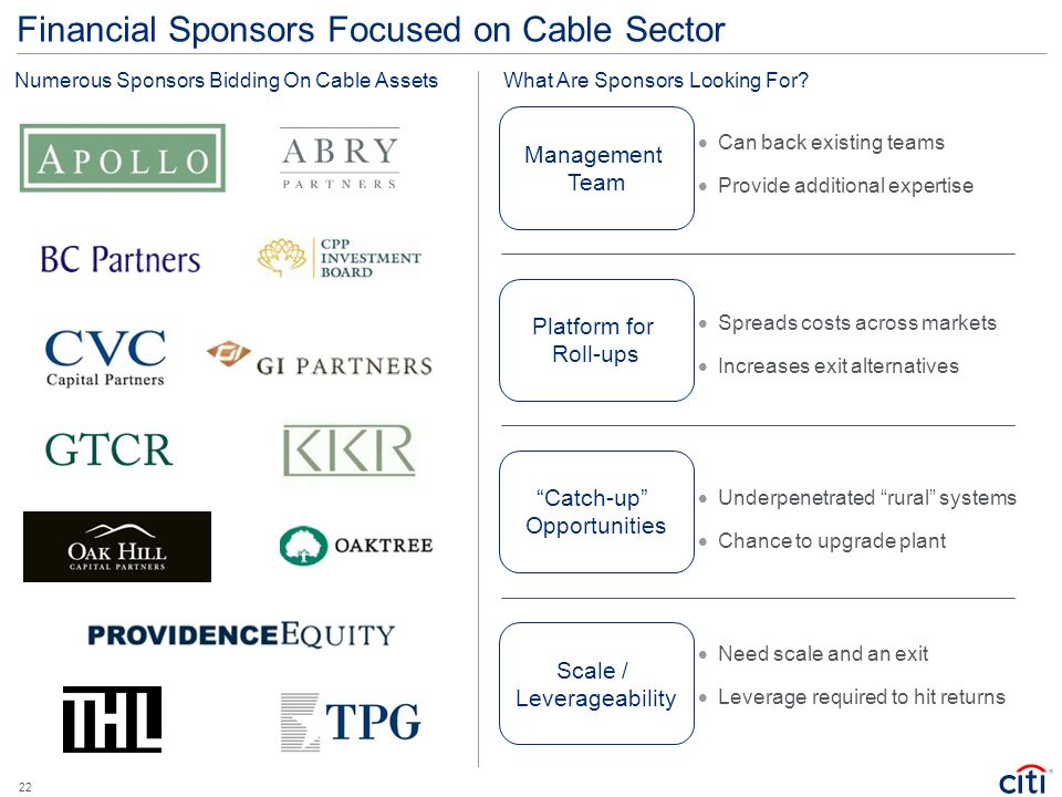 Financial Sponsors Focused on Cable Sector