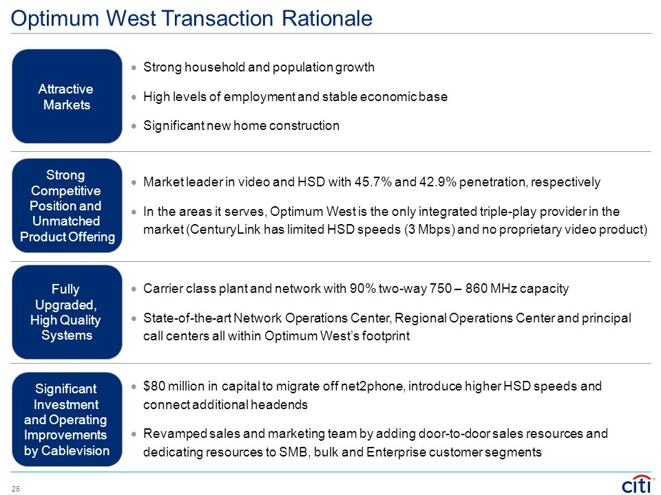 Optimum West Transaction Rationale