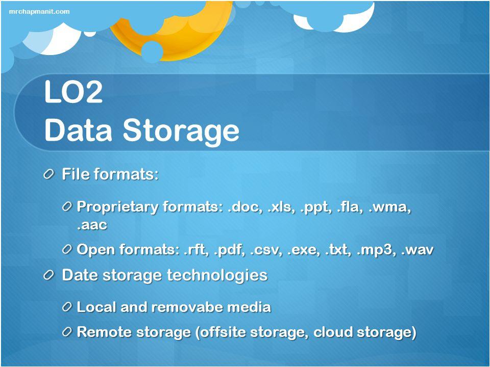 LO2 Data Storage File formats: Date storage technologies