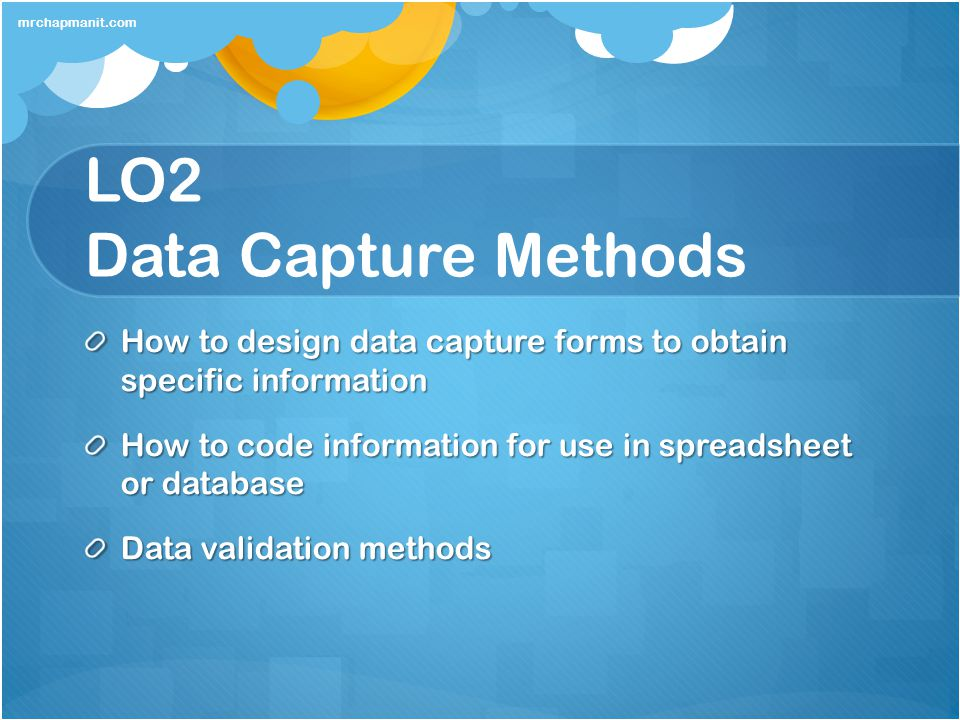 LO2 Data Capture Methods