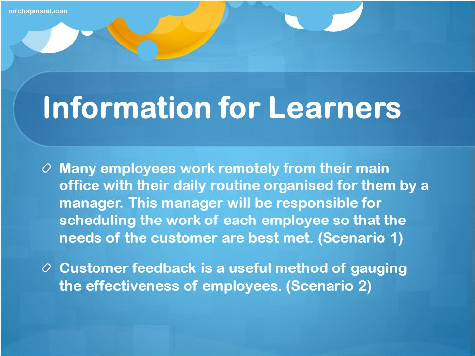 Information for Learners