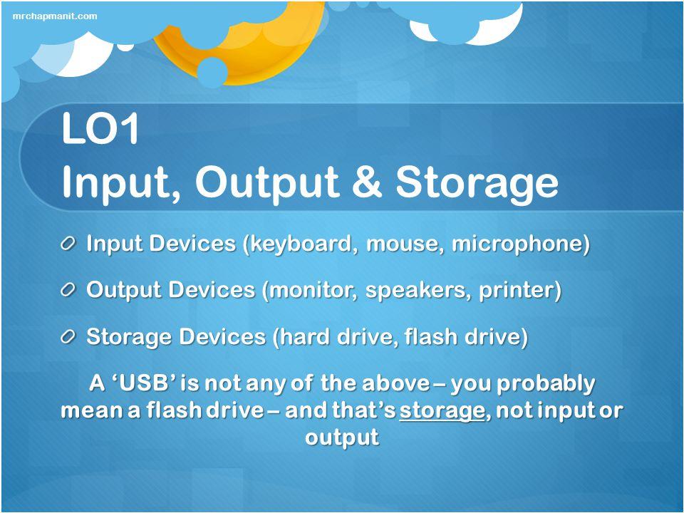 LO1 Input, Output & Storage