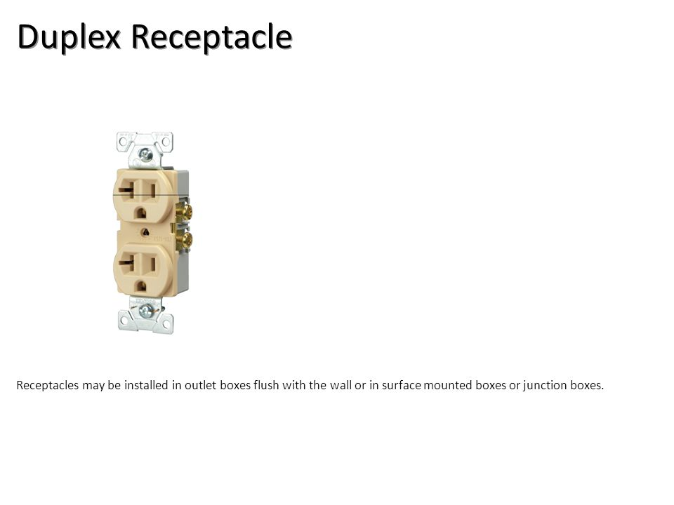 Duplex Receptacle Electrical-Boxes and Devices Image: DuplexRecpt.jpg Height: 900 Width: 900.