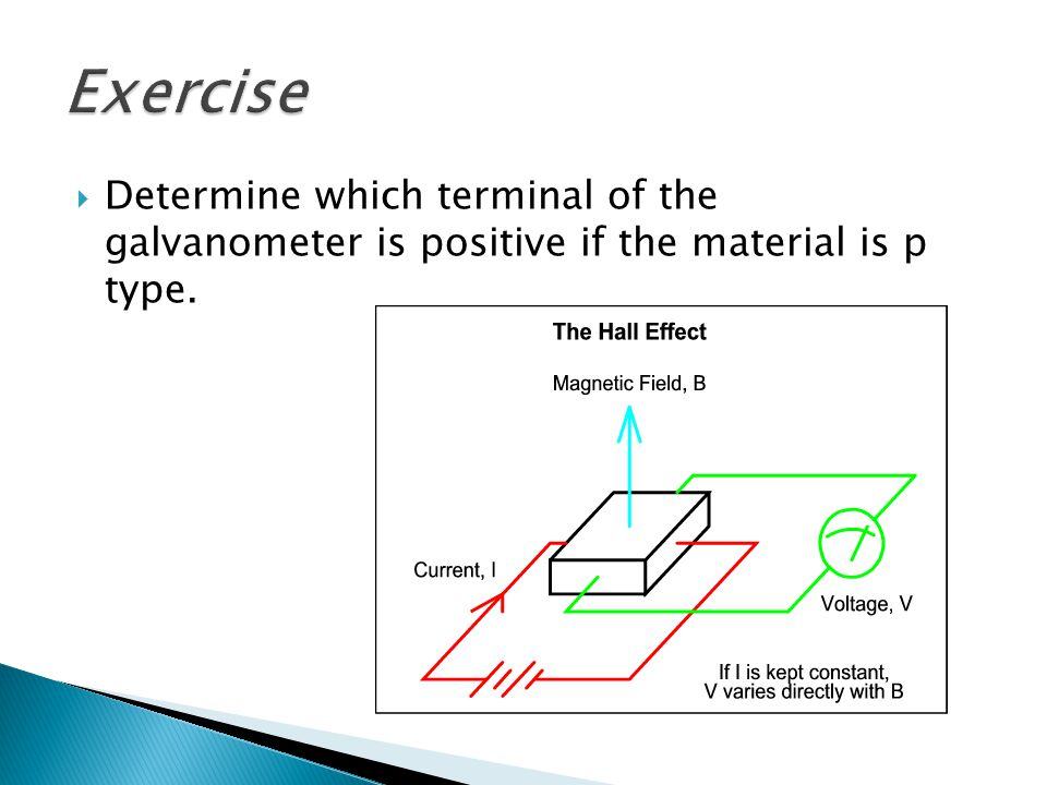 Exercise Determine which terminal of the galvanometer is positive if the material is p type.