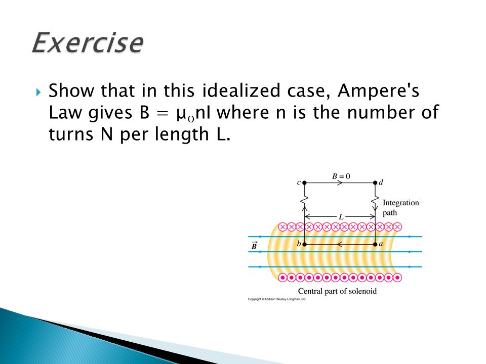 Exercise Show that in this idealized case, Ampere s Law gives B = μonI where n is the number of turns N per length L.