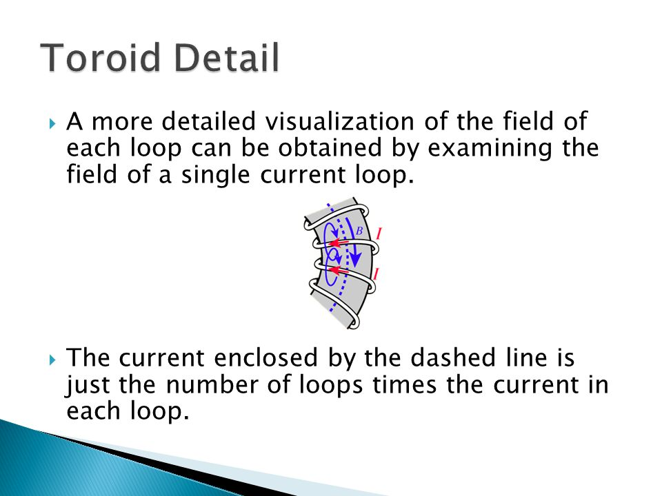 Toroid Detail A more detailed visualization of the field of each loop can be obtained by examining the field of a single current loop.