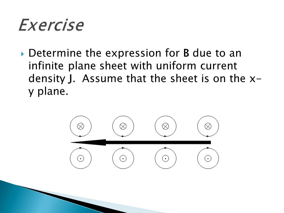 Exercise Determine the expression for B due to an infinite plane sheet with uniform current density J.