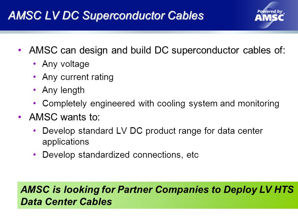 AMSC LV DC Superconductor Cables