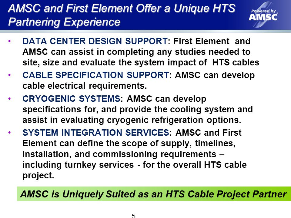 AMSC and First Element Offer a Unique HTS Partnering Experience