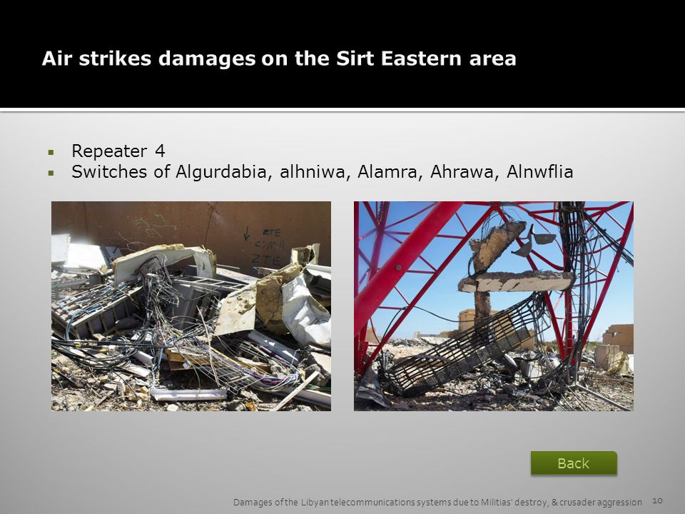 Air strikes damages on the Sirt Eastern area