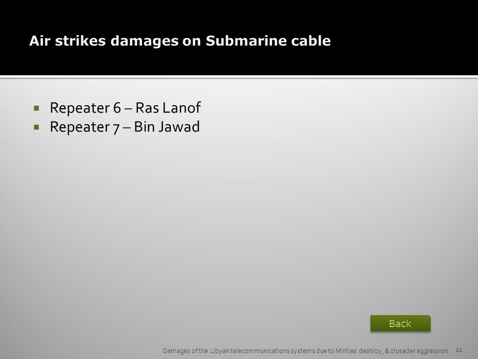 Air strikes damages on Submarine cable