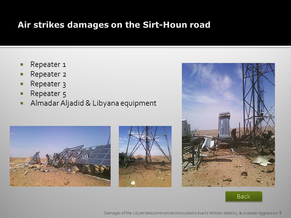 Air strikes damages on the Sirt-Houn road