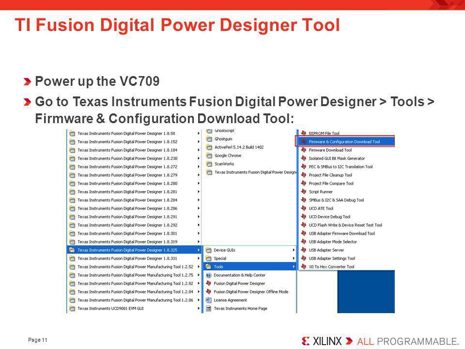 TI Fusion Digital Power Designer Tool