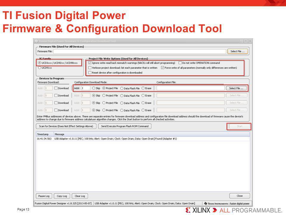 TI Fusion Digital Power Firmware & Configuration Download Tool