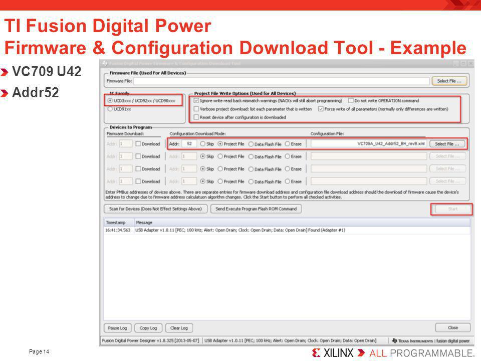 TI Fusion Digital Power Firmware & Configuration Download Tool - Example