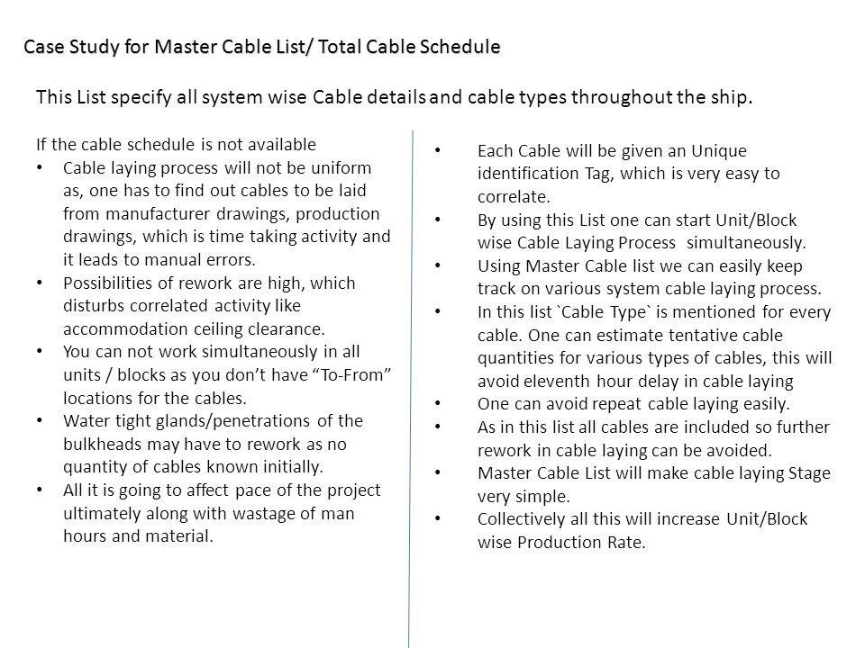 Case Study for Master Cable List/ Total Cable Schedule