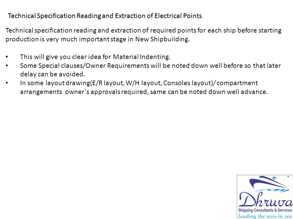 Technical Specification Reading and Extraction of Electrical Points