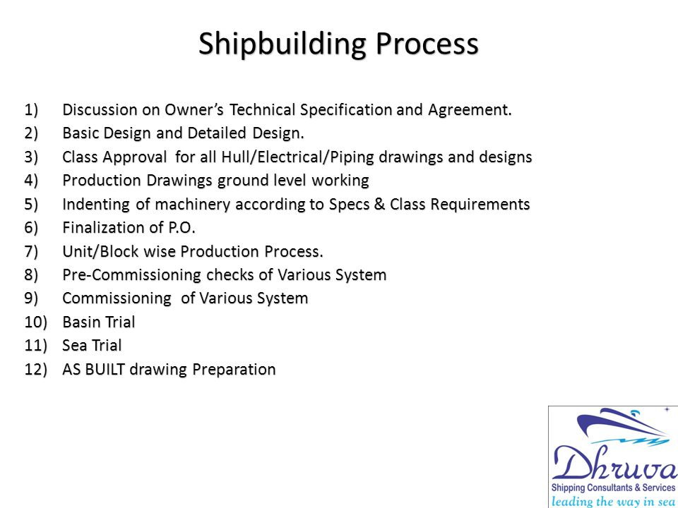 Shipbuilding Process Discussion on Owner's Technical Specification and Agreement. Basic Design and Detailed Design.