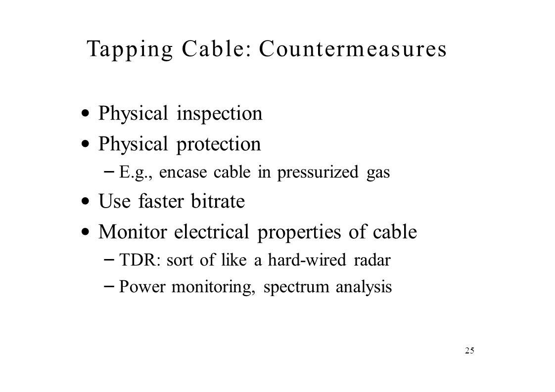 Tapping Cable: Countermeasures