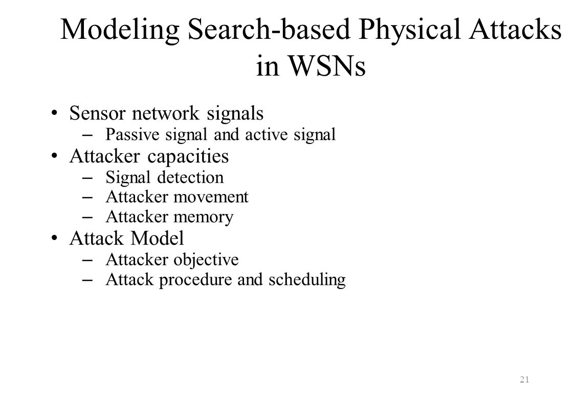 Modeling Search-based Physical Attacks in WSNs