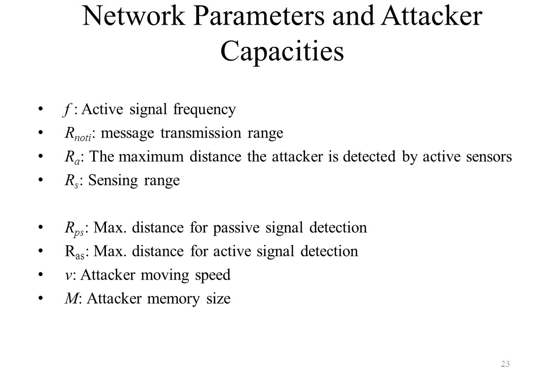 Network Parameters and Attacker Capacities