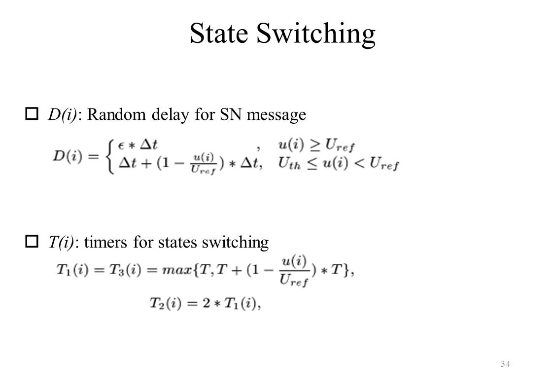 State Switching D(i): Random delay for SN message