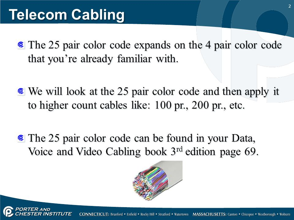 Telecom Cabling The 25 pair color code expands on the 4 pair color code that you're already familiar with.