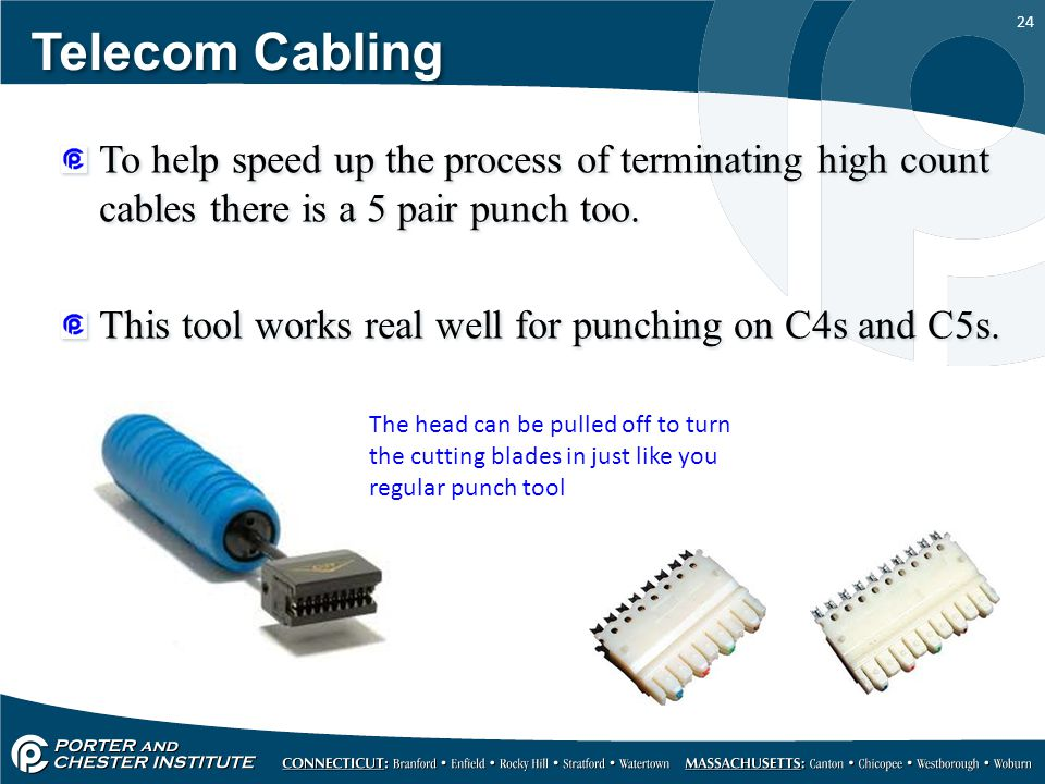 Telecom Cabling To help speed up the process of terminating high count cables there is a 5 pair punch too.