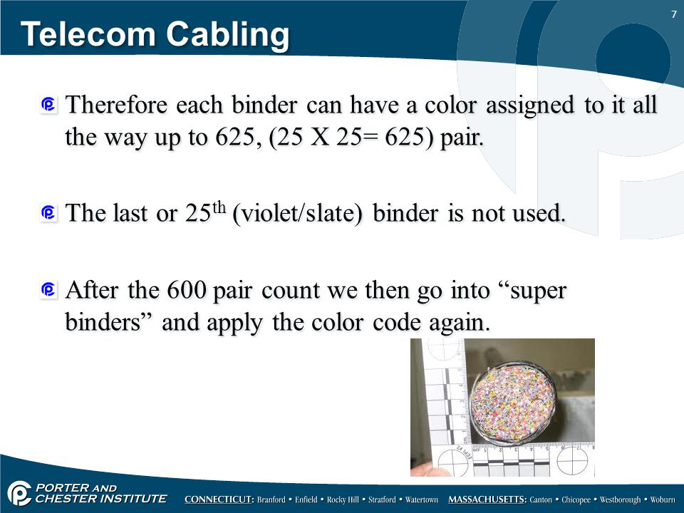 Telecom Cabling Therefore each binder can have a color assigned to it all the way up to 625, (25 X 25= 625) pair.