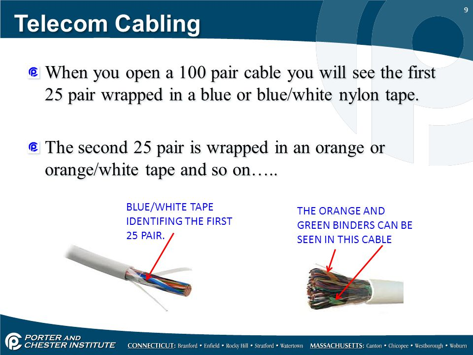 Telecom Cabling When you open a 100 pair cable you will see the first 25 pair wrapped in a blue or blue/white nylon tape.