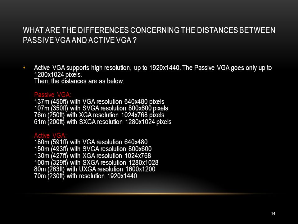 What are the differences concerning the distances between passive VGA and active VGA