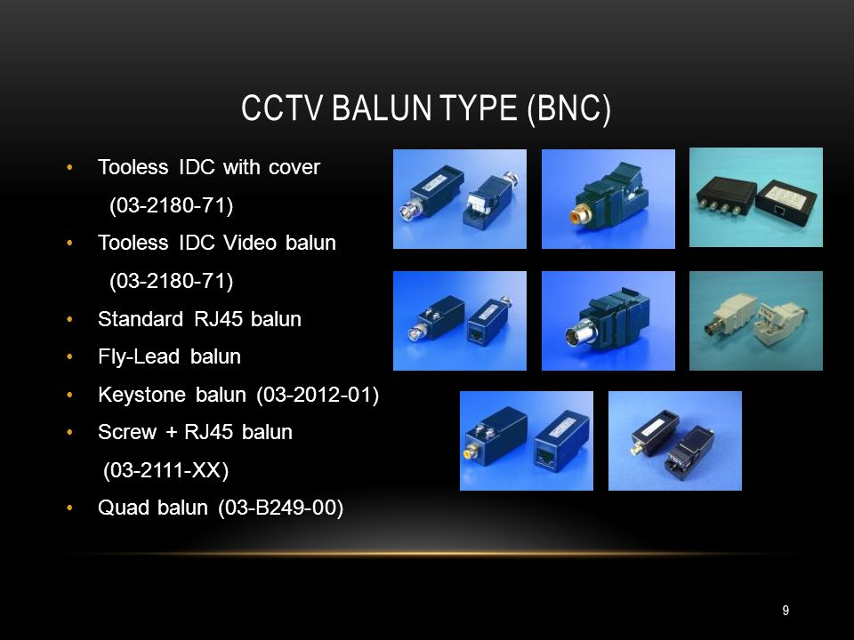 CCTV BALUN TYPE (BNC) Tooless IDC with cover (03-2180-71)