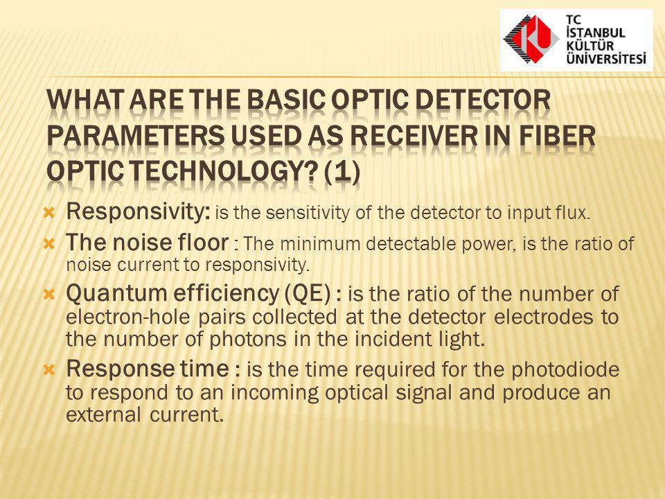 What are the basic optic detector parameters used as receiver in fiber optic technology (1)